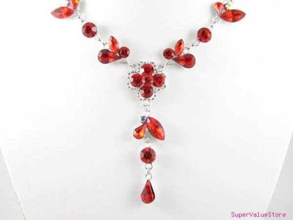 SS012 Elegant Ruby Austrian Crystal Flower Silver Tone Necklace Earrings Set Best for Gift
