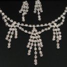 WS006 Elegant Simulated Diamond Silver Tone Wedding Bridal Necklace Earrings Set Best for Gift