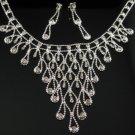 WS010 Elegant Simulated DiamondSilver Wedding Bridal Necklace Earrings Set Best for Gift