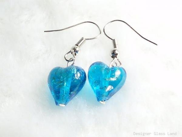 ER021 ***MURANO STYLE*** Lampwork Glass Turquoise Blue Earrings