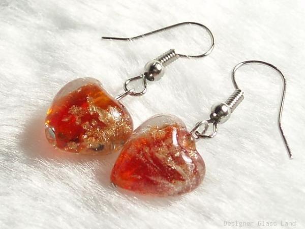 ER027 Lampwork Glass Red Heart Earrings