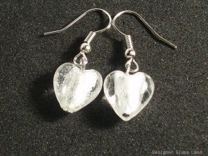 ER029 Lampwork Glass Snow White Heart Earrings
