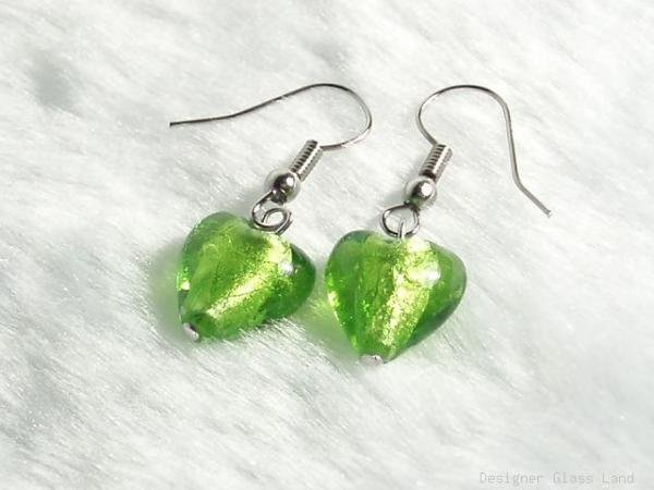 ER030 Lampwork Glass Green Heart Earrings
