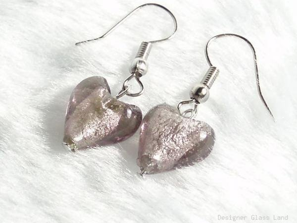 ER032  Lampwork Glass Smoky Heart Earrings