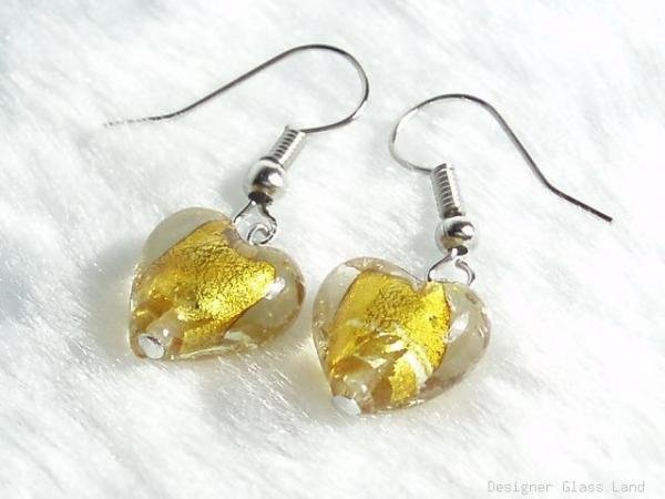 ER034 Lampwork Glass Golden Heart Earrings