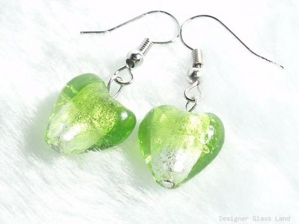 ER043 Lampwork Glass Bi Colors Green Heart Dangle Earrings