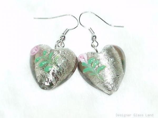 ER052 Lampwork Glass Smoky Rose Heart Dangle Earrings