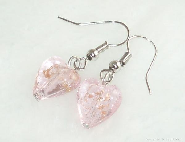 ER056 Lampwork Glass Pink Heart Earrings