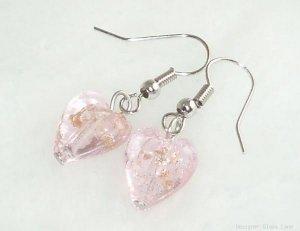 ER056 Lampwork Glass Pink Heart Earrings