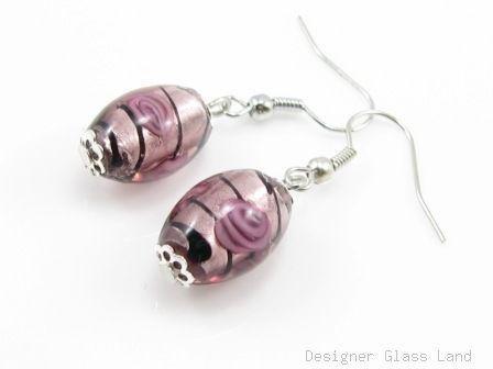 ER064 Lampwork Glass Purple Dangle Silver Earrings