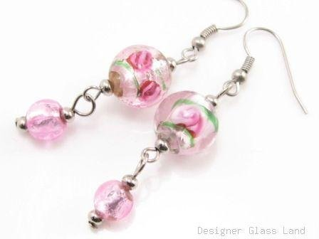 ER067 Lampwork Glass Pink Round Dangle Silver Earrings