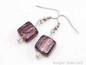 ER072 Lampwork Glass Purple Grid Dangle Silver Earrings