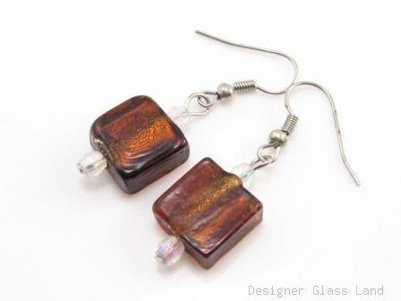 ER074 Lampwork Glass Chocolate Brown  Grid Dangle Silver Earrings
