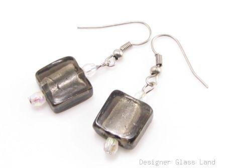 ER073 Lampwork Glass Smoky Grid Dangle Silver Earrings