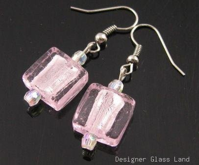 ER079 Lampwork Glass Pink Grid Dangle Silver Earrings