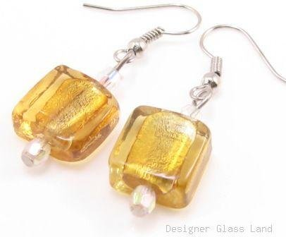 ER080 Lampwork Glass Golden Grid Dangle Silver Earrings