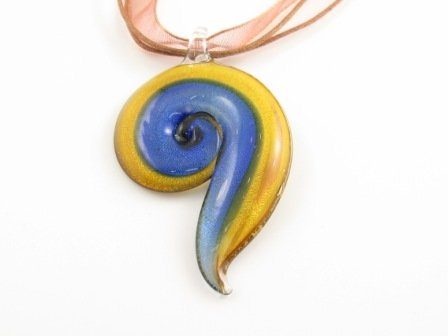 P978 Lampwork Glass Golden Navy Spiral Pendant Necklace Best for Gift
