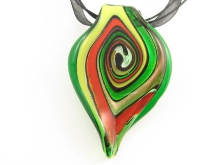 P973 Lampwork Glass Twist Choker Pendant Necklace Best for Gift