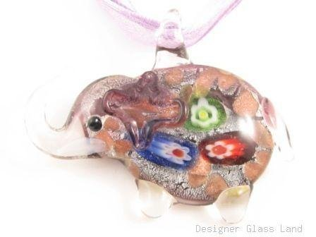 P972 Lampwork Glass Funky Millefiori Purple Elephant Pendant Necklace Best for Gift