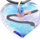P507 MURANO LAMPWORK GLASS BLUE HEART PENDANT NECKLACE, FREE SHIPPING!!!