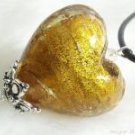 P005 LAMPWORK GLASS HEART SILVER PENDANT NECKLACE  **FREE SHIPPING**