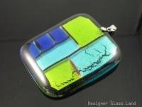 "DG001 HUGE DICHROIC FUSED GLASS GRID PENDANT 2""  ***FREE SHIPPING***"