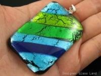 "DG004 HUGE DICHROIC GLASS GRID PENDANT 55MM 2.25""  **FREE SHIPPING**"