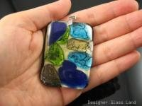 DG007 HUGE DICHROIC GLASS GRID PENDANT 52MM 2.125""