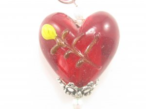 P1006 LAMPWORK GLASS RED HEART PENDANT NECKLACE