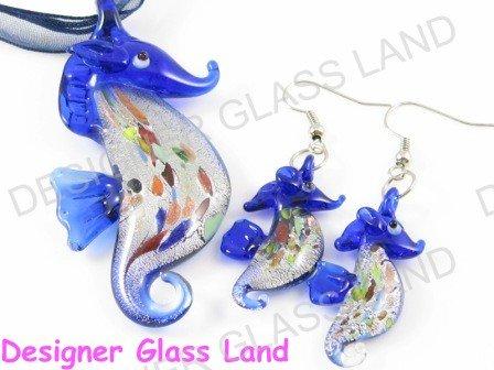 PE039 RARE LAMPWORK GLASS SEAHORSE PENDANT EARRINGS SET