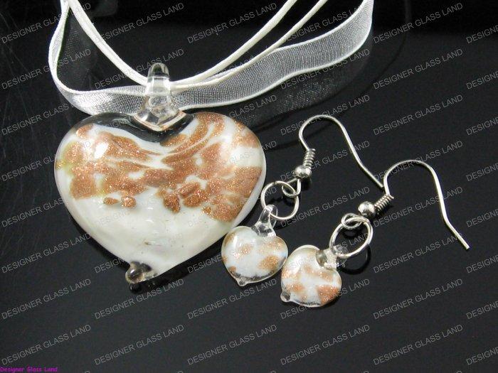 PE045 LAMPWORK GLASS WHITE HEART PENDANT EARRING SET