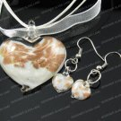 PE045 LAMPWORK GLASS WHITE HEART PENDANT EARRING SET