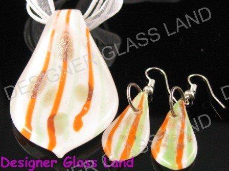 PE048 LAMPWORK GLASS WHITE LEAF PENDANT EARRING SET