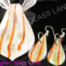 PE048 LAMPWORK GLASS WHITE LEAF PENDANT EARRING SET