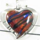 P1014 LAMPWORK GLASS SILVER FOIL BURGUNDY HEART PENDANT