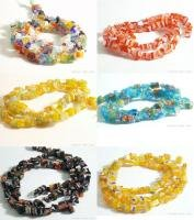 W169F LOT X 10 STRANDS MILLEFIORI GLASS CHIP BEADS