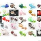 W209 LOT 10 SET LAMPWORK GLASS HEART PENDANT EARRINGS