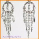 AE518F VICTORIAN STYLE WHITE DANGLE EARRINGS 3""