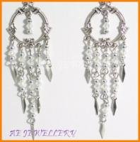 AE520F VICTORIAN STYLE TOPAZ CRYSTAL DANGLE EARRINGS 3""