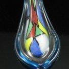 P1025 LAMPWORK GLASS TURQUOISE COLORFUL MOSAIC PENDANT
