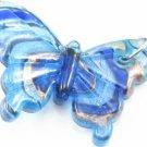 P1031 LAMPWORK GLASS BLUE SWIRL BUTTERFLY PENDANT