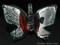 P1038 LAMPWORK GLASS SILVER FOIL BUTTERFLY PENDANT