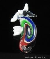 P1047 LAMPWORK GLASS SWIRL SEAHORSE PENDANT
