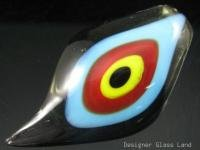 P1051 LAMPWORK GLASS SMOKY LEAF PENDANT