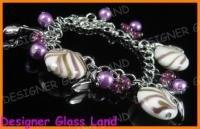 B443 MURANO STYLE LAMPWORK GLASS SILVER CHARM BRACELET