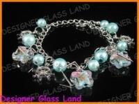 B449 MURANO STYLE LAMPWORK GLASS SILVER CHARM BRACELET