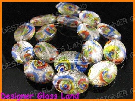 """GQ013 15"""" -15*20MM DICHROIC GLASS BEADS ITALIAN FOIL"""