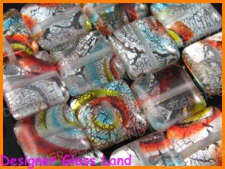 GQ005 LOT 15PCS*12MM DICHROIC GLASS BEAD SILVER FOIL
