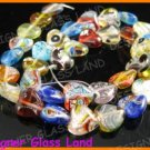"GQ009 15"" * 12MM DICHROIC GLASS HEART BEADS ITALIAN"