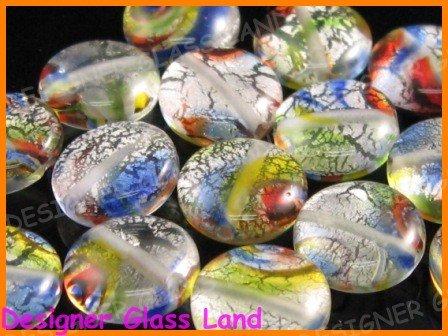 GQ012 LOT 15PCS * 12MM DICRHOIC GLASS BEADS ITALIAN
